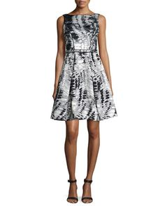Sleeveless Printed Fit & Flare Dress  by Theia at Neiman Marcus.