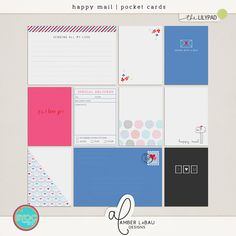 HAPPY MAIL POCKET CARDS | by Amber LaBau  A super fun, bright, and utterly delightful collection for all different types deliveries! Perfect for doc...