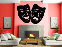 Masks Comedy and Tragedy Theater Decor Wall Mural Vinyl Decal Sticker M309…