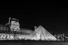 LOUVRE ILLUMINATED- BLACK AND WHITE: Available as a fine art print, canvas, greeting card and more   Paris, France