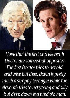 The first doctor William Hartnell and the eleventh doctor Matt Smith.. The Doctor has seen a lot in 50 years!
