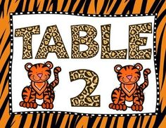Table Numbers: Table signs with a jungle theme. Includes table numbers 1-10.
