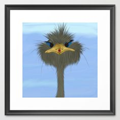 George And His Visitor Framed Art Print. Starting at $32.00. By #OneArtsyMomma #ostrich #ladybug #birds