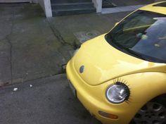 cute car with eyelashes