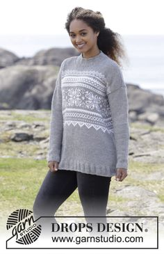 Vintermys - Knitted jumper with multi-coloured Norwegian pattern. Sizes S - XXXL. The piece is worked in DROPS Nepal. Free knitted pattern DROPS 179-28