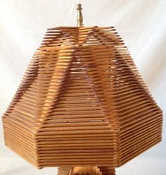 "Vintage Popsicle Stick Table Lamp and Shade Hexagonal 18"" Tall Retro"