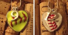 Each necklace is handmade with a piece of leather from a new real baseball or softball.  Show your support for your favorite player with this customized necklace.