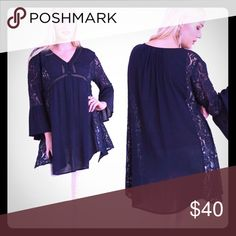 Navy blue long flowy peasant top with lace. This is a navy blue flowery type of top with lots of lace. It does run big because of the style. However this is a very pretty top, Tops Blouses