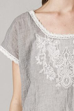 Embroidered Averly Tunic Top in Ashen | Women's Clothes, Casual Dresses, Fashion Earrings & Accessories | Emma Stine Limited
