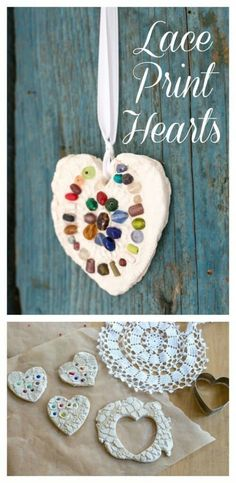 DIY lace hearts to use as ornaments or magnets. These clay hearts are printed with doilies for a beautiful lace texture effect. Fun for kids or adults. #valentinesday #valentinecraft #heart #kidscraft #valentinesdaygift