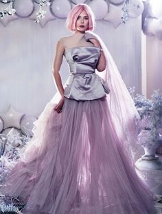 OLSENS ANONYMOUS ELIZABETH OLSEN STYLE FASHION BLOG BULLETT MAGAZINE EDITORIAL PASTEL COTTON CANDY PINK HAIR GOWNS WINTER METALLIC SILVER EMBELLISHED BEAUTY  7