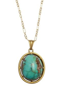 Vintage 14K Yellow Gold Turquoise Airline Gallery Pendant Necklace