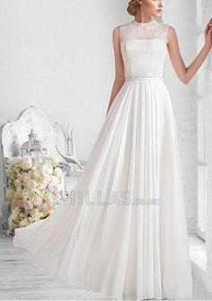 Elegant Lace & High Collar Neckline Sheath Wedding Dress with lace bodices - 1640888 - Wedding Dresses