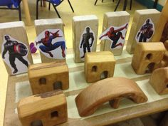 "Pinner wrote ""Spider man and captain America in our block area! Couldn't afford more small world things/action figures so made these instead. Hoping the boys will play small world Spider-Man instead of role play spider man! Super Hero Activities, Preschool Activities, Construction Area Ideas, Construction Eyfs, Block Center Preschool, Eyfs Classroom, Classroom Ideas, Role Play Areas, Superhero Writing"