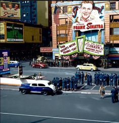 "f**kyeahthevoice: "" A rare color photo of the historic Paramount Theatre marquee during Frank Sinatra's engagement in was here that Sinatramania exploded on October after enraged. New York City Photos, New York Pictures, Old Pictures, Paramount Theater, Vintage Photos, Times Square, Nyc, Taxi, Police"