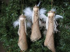 Love these cute burlap angels. Burlap Christmas Ornaments, Angel Ornaments, Christmas Angels, Rustic Christmas, Handmade Christmas, Christmas Fun, Christmas Decorations, Ornaments Ideas, Christmas Swags