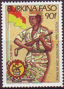 postage stamps of burkina faso | Stamp catalog : Stamp ‹ Soldier,Embleme,Flag