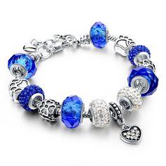 Silver Crystal Charm Bracelets