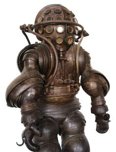 Diving suit with 20 small portholes, designed by Alphonse and Theodore Carmagnolle in Marseille, France, 1878