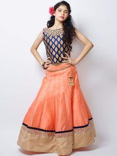 Peach Raw Silk Party Wear Lehenga Choli