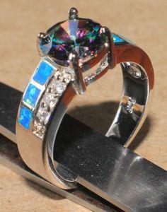blue-fire-opal-rainbow-topaz-Cz-ring-gemstone-silver-jewelry-Sz-7-modern-style-Z