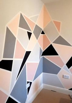 Home Decor and Design 25 DIY Tape Mural Wall Art paint ideas Wall Painting Decor, Mural Wall Art, Diy Wall Art, Decorative Wall Paintings, Painting Designs On Walls, Painted Wall Murals, Painted Feature Wall, Creative Wall Painting, Cool Wall Art