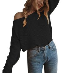 Autumn Women Pullovers Loose Knitted Off Shoulder Sexy Sweater Jumper Knitwear Collar Strapless Pullover Sweater Plus Size Long Sweaters, Pullover Sweaters, Jumpers For Women, Sweaters For Women, Long Sleeve Sweater, Long Sleeve Tops, Shoulder, Witch House, Knitwear
