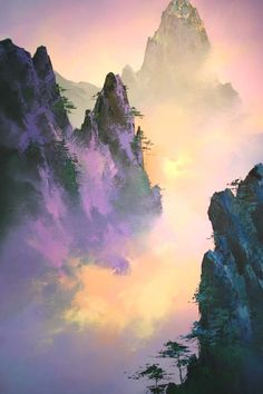 Chinese Landscape Painting, Fantasy Landscape, Oil Painting Abstract, Watercolor Landscape, Landscape Art, Landscape Paintings, Watercolor Paintings, Landscapes, Mountain Paintings
