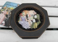 Vintage Cinderella Decoupage Octagonal Wooden Jewellery Box in Graphite Graphite Chalk Paint, Annie Sloan Graphite, Wooden Jewelry Boxes, Black Ribbon, Home Decor Items, Decoupage, Upcycle, Cinderella, Unique Gifts