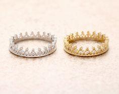 2016 새로운 작은 심장 티아라 반지 보석 반지, 기념일 석 반지, 크리스탈 크라운 반지 R035