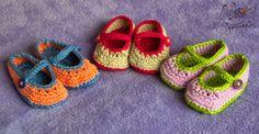 ¡Bebés preparados para la primavera! Zapatos bicolor by Noagurumis ~ baby crochet booties mary janes shoes