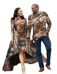Men and Women African Traditional Clothes, Fashion Party Dress and Shirt, Various Colors-Men Kitenge Sets-LeStyleParfait.Com