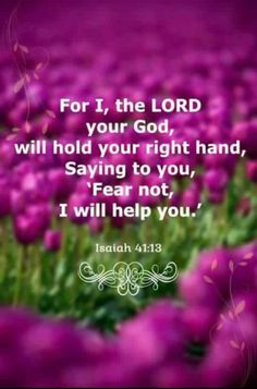 For I, the Lord your God, will hold your right hand, Saying to you, 'Fear not, I will help you.' Isaiah 41:13