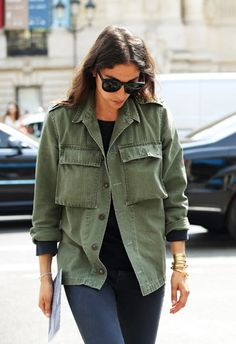 "style-inspo: "" Capucine Safyurtlu at Paris Fashion Week Couture 2013 "" Militar Jacket, Khaki Jacket, Khaki Parka, Military Jacket Outfits, Military Jacket Women, Military Green, Army Green, Army Look, Parisienne Chic"