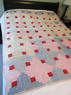 Vintage Log Cabin Quilt Hand Quilted not perfect   #vintage #white #old #ship #pin #thread #light #paint #cotton #quilt