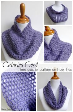 The Caterina Cowl is an elegant cowl with an open stitch pattern. Easy and fast to crochet, the Caterina Cowl makes a lovely and thoughtful gift too! The Caterina CowlBy Jennifer Dickerson Add this p Knit Or Crochet, Crochet Scarves, Crochet Shawl, Crochet Crafts, Crochet Clothes, Crochet Stitches, Crochet Baby, Free Crochet, Crochet Granny