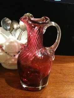 Vintage Art Glass Cruet Fenton Cranberry Glassware by missenpieces, $22.50-have this little pitcher, so cute