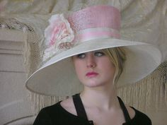 Pink and Ivory Kentucky Derby Hat Church Hat Easter Hat by HatTrix, $230.00