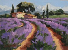 """Tiptoe Through the Lavender"" ~ 6x8 - Original Fine Art for Sale - Oil painting by Erin Dertner"