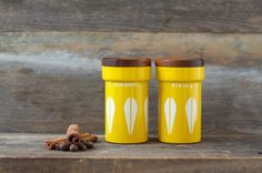 Rare Cathrineholm Yellow Spice Tins/Cans  Mid by HouseofSeance, $138.00