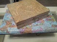 Aren't these old cigar boxes cute now? I just used old book pages and maps. Decoupage fun. 7/1/13 LMK