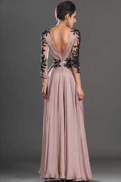 Pink V Neck Floor Length Chiffon Princess Military Ball Dress With Appliques Oet0189