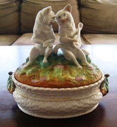 German Austria Fairing Staffordshire Parian 19thC ? Cats Terrine Box Dish Bowl