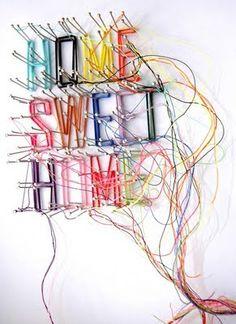 #typographicthread  home sweet home / thread drawings & installations: debbie-smyth.com