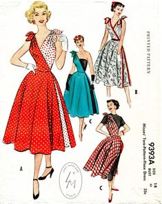 RARE Cut In Two, Promotional Dress Pattern sundress tie shoulder one side full skirt red blue white gingham floral black McCalls Two Separate Halves, Two Pattern Pcs, Bombshell Marilyn Style Casual or Evening Quick N Easy Vintage Sewing Pattern Bust 30 Moda Vintage, Vintage Mode, 50s Vintage, Style Vintage, Vintage Inspired, Dress Making Patterns, Vintage Dress Patterns, Clothing Patterns, Clothing Styles