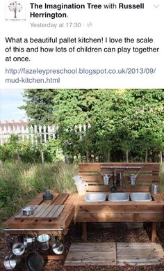 Mud kitchen made with pallets
