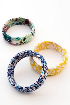 Make fabric wrapped bangles - Mod Podge Rocks