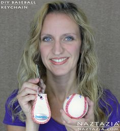 DIY Free Pattern Tutorial Baseball Base Ball Key Chain Keychain Made From a Real Baseball with YouTube Video by Naztazia