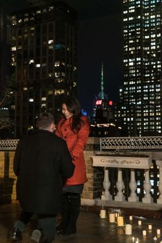 Romantic rooftop proposal with the Empire State Building view.