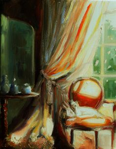 Painting of AT THE WINDOW.  original painting by Cecilia Rosslee, Window scene, French Home Decor on Etsy, $150.00